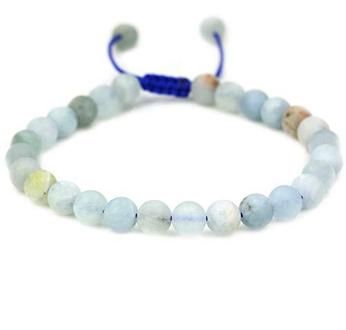 Natural Matt Multicolor Aquamarine Gemstone 6mm Round Beads Adjustable Braided Macrame Tassels Chakra Reiki Bracelets 7-9 inch Unisex