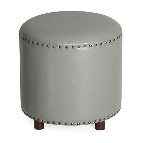 Home Collection Contemporary Gray Grey Bonded Leather Round Ottoman Footstool with Nailhead Accents 18 Inch -