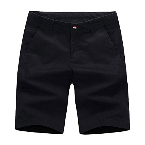 (Voncheer Mens Flat Front Classic Fit Summer Casual Cotton Shorts with 4 Pockets (32, Black Men Shorts))