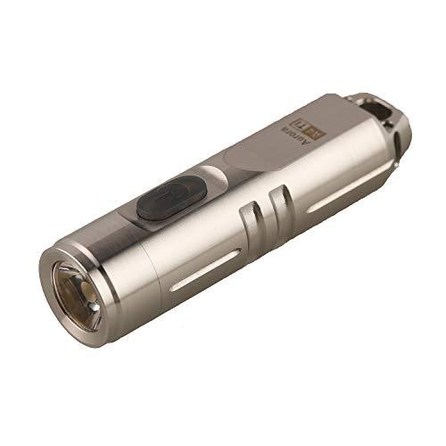 RovyVon Aurora Natural Titanium Material 550 Lumens EDC Mini Keychain Rechargeable CREE LED Flashlight,Silver, Idea as a Gift(A4 Silver)