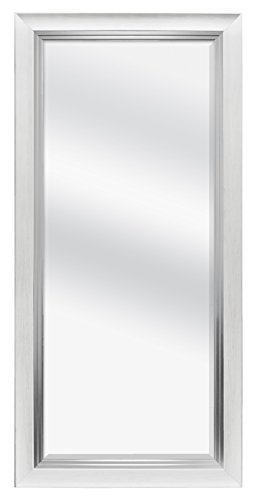 MCS Beveled Leaner Mirror (66901) White Woodgrain, White Woodgrain and Silver (Wall Length Full White Mirror)