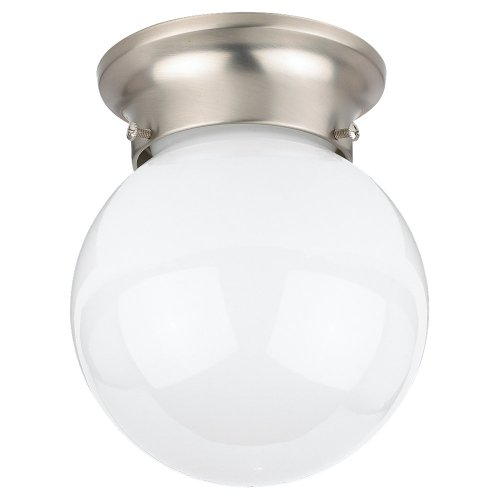 (Sea Gull Lighting 5366-962 Flush Mount with Smooth WhiteGlass Shades, Brushed Nickel Finish)