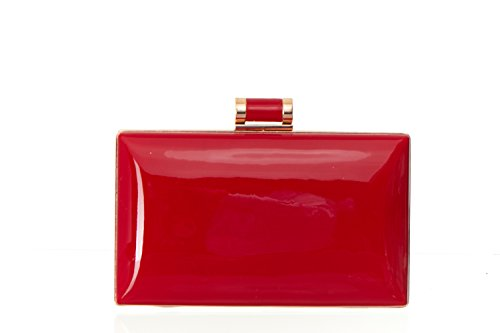 Faux Patent Leather Candy Clutch Women's Shiny Solid Patent Rectangular Box Clutch with Top Clasp - Red