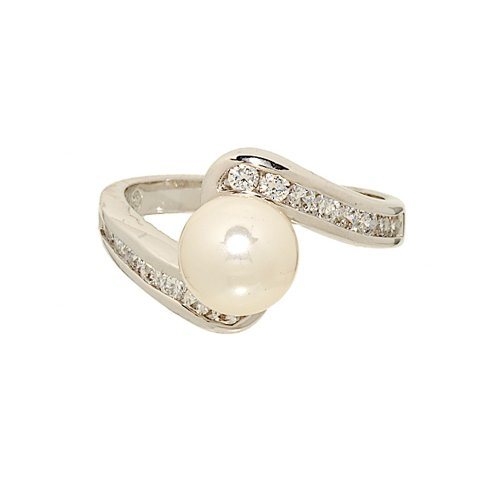 Classic Imitation Faux Pearl and Channel Set Cubic Zirconia Rhodium Plated Ring Size 10 ()
