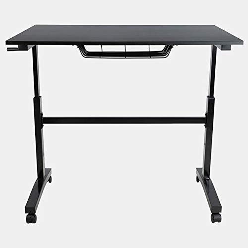 - Wood Desk with Metal Base - Rectangular Desk with Adjustable Height - Black