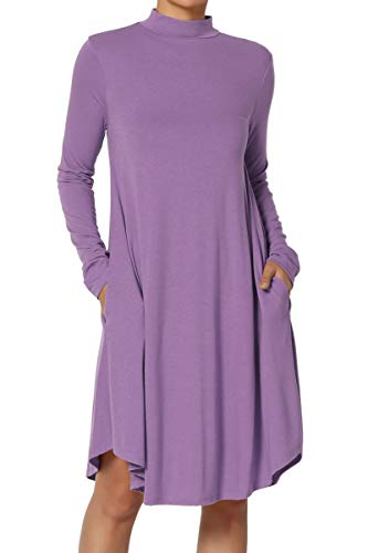 Turtleneck Flare (TheMogan Women's Long Sleeve Mock Neck Jersey Pocket A-Line Dress Lilac L)