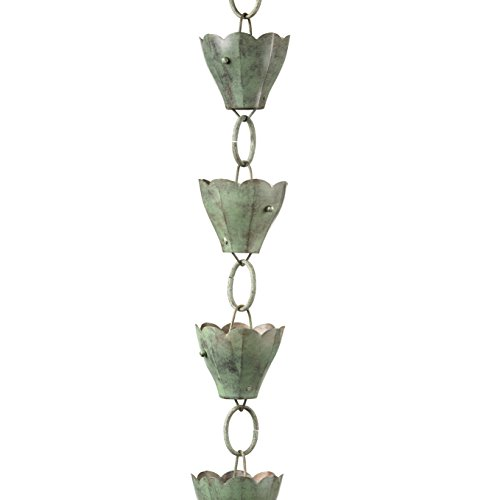 Good Directions 13 Cup Tulip Pure Blue Verde Copper 8.5-Foot Rain Chain Leader by Good Directions (Image #1)