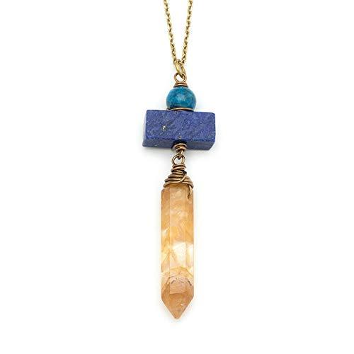 Lapis Lazuli Apatite Yellow Quartz Point Crystal Antique Bronze Necklace 20 Inches