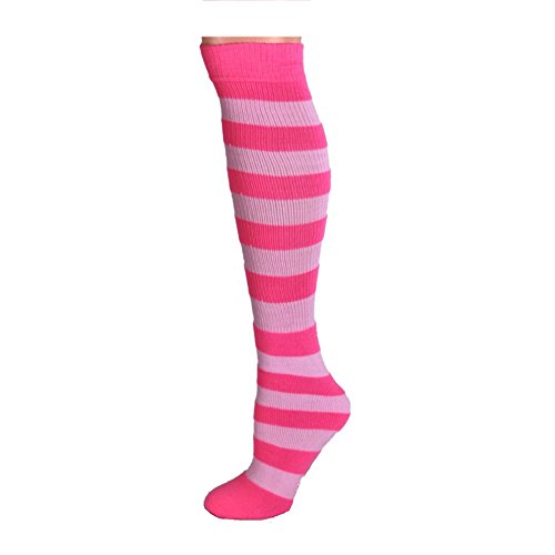 AJs Adult Long Classic Knee High Striped Socks - Neon Pink/Baby Pink, Sock size 11-13, Shoe Size 5 and -