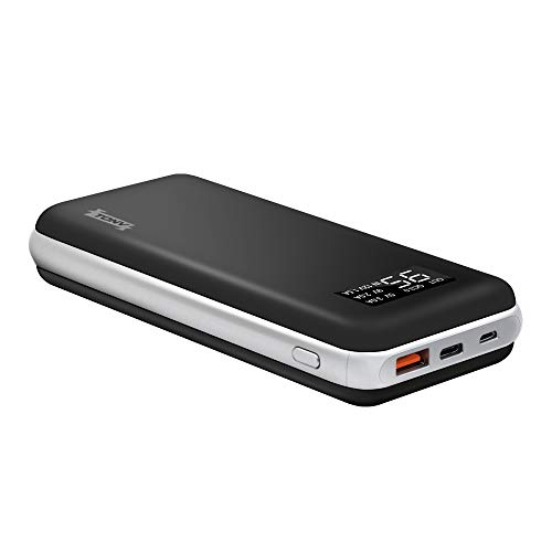 20000mah Portable Charger TONV Quick Charger 3.0 High Capacity Portable Battery Pack with LCD Digital Display for Laptop with USB C Power Port and More (Black-Silver)