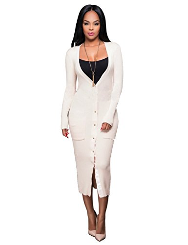 Women Casual V Neck Long Sleeve Button Knitted Bodycon Dress Cardigan Sweater Beige