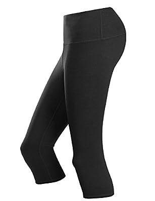 Doublju Womens Active High Waist Tummy Control Workout Capri Yoga Pants with Plus Size