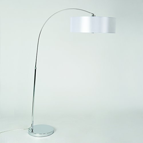 Yosemite Home Decor PFL128PW-CH 1 Light Arc Floor Lamp with Pristine White Shade, Chrome Finish