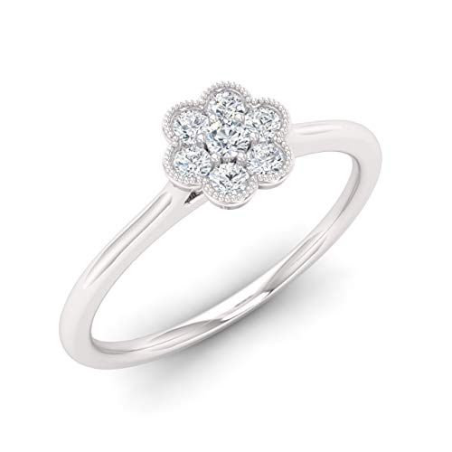 Giovance Natural and Certified Diamond Engagement Ring in 18K White Gold | 0.20 Carat Seven Stone Flower Cluster Ring for Women, US Size 6.5 ()