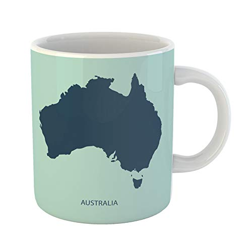 Emvency Coffee Tea Mug Gift 11 Ounces Funny Ceramic Colorful Flat Australia Map Brisbane Australian Gifts For Family Friends Coworkers Boss Mug -
