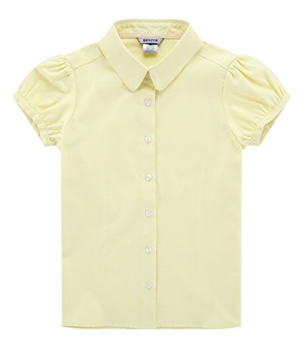 - Bienzoe Big Girl's School Uniforms Oxford Short Puff Sleeve Blouse Yellow L