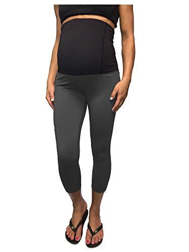 CLOYA Women's Maternity Active Capri Pant (M, Charcoal)