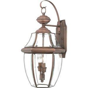 Quoizel NY8317AC Newbury 2-Light Outdoor Lantern, Aged Copper