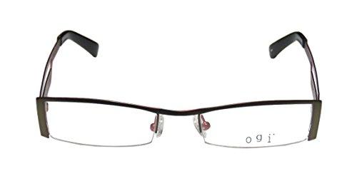 Ogi 9038 MensWomens Rx Ready Prestigious Designer Designer Half-rim EyeglassesGlasses (51-19-140 Dark Olive  Cherry)