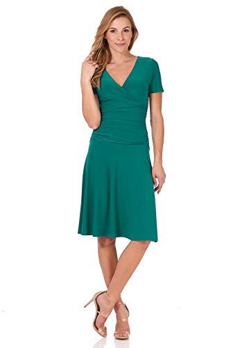 Rekucci Women's Slimming Short Sleeve Fit-N-Flare Crossover Tummy Control Dress (4,Lagoon)