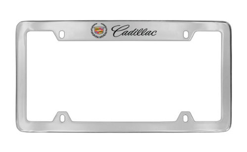 Cadillac Workmark & Logo Chrome Plated Metal Top Engraved License Plate Frame