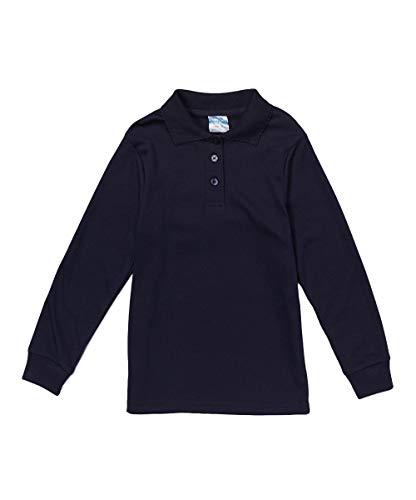 unik Girl's Uniform Polo Shirt Short Sleeve White Navy Sky Blue Red Green Pink (Navy Long Sleeve, ()