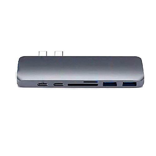 USB C Hub Adapter,7 in 1 Dual Type-C Docking Station Thunderbolt 3 Hub for 2016/2017 MacBook Pro with 100W Power Delivery,USB-C,4K HDMI,2xUSB3.0,SD and MicroSD Card Reader (GREY) by Ingerik Direct (Image #1)