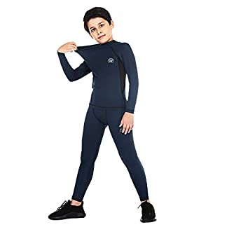 Aojo Kid's Thermal Underwear Set, Boy's Base Layer Winter Warm Long Johns for Skiing Running Hiking 8