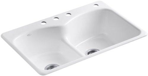 (Kohler K-6626-4-0 Langlade Smart Divide Self-Rimming Kitchen Sink, White)