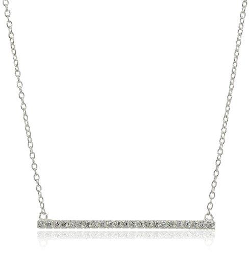 Necklace Argento Vivo Silver (Argento Vivo Cubic Zirconia Bar Pendant Necklace, 17