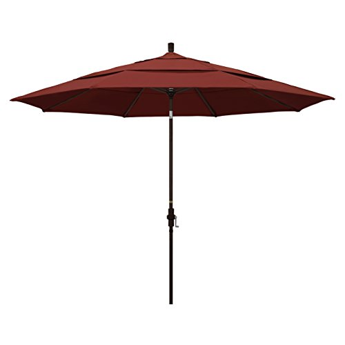 California Umbrella 11' Round Aluminum Market Umbrella, Crank Lift, Collar Tilt, Bronze Pole, Sunbrella Henna
