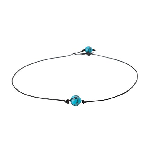 DYbaby Turquoise Leather Choker Necklace and Cultured Freshwater Pearl Leather Choker Necklace Fashion Handmade Jewelry for Women (15''-Blue) ()
