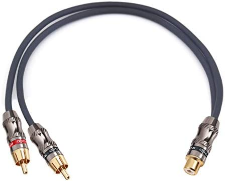 Devinal RCA//Phono Splitter Cable RCA Female to Dual Male Gold Plated Adapter 10 1 Female to 2 Male Stereo Audio Y-Cable Heavy Duty 25 cm