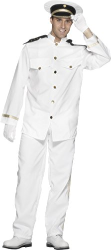 Naval Uniform (Smiffy's Men's Captain Costume with Jacket Trousers Cap and Gloves, White, Large)