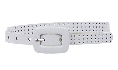 (5/8 Inch Wide Patent Skinny Leather Belt Size: S/M - 32 Color: White)