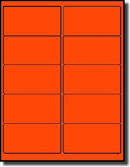 1,000 Label Outfitters 4 x 2 inches Fluorescent Neon Orange LASER ONLY Labels, 100 Sheets