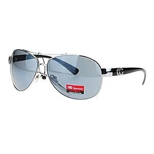 CG Eyewear Womens Designer Fashion Diva Aviator Sunglasses Silver Black