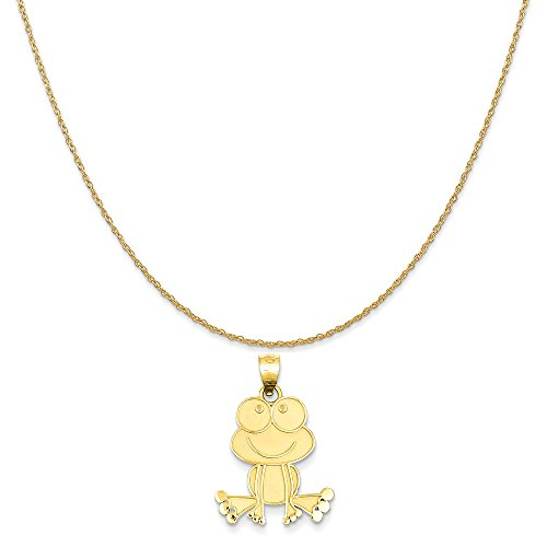 (Mireval 14k Yellow Gold Frog Charm on a 14K Yellow Gold Rope Chain Necklace, 20