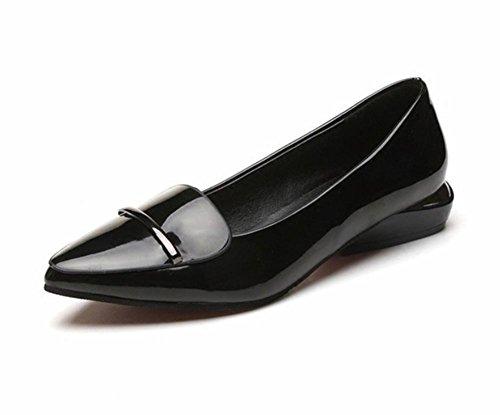 femmes Spring Mme chaussures chaussures dames black casual chaussures célibataires plates d'ascenseur tête de poissons chaussures 4UH4F
