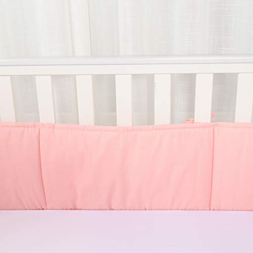 Habibee Baby Breathable Cotton Crib Bumper Pads for Standard Cribs Machine Washable Padded Crib, Pink, 4-Pieces