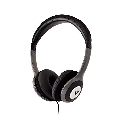 V7 HA520 Deluxe Stereo Headphones with Volume Control - Black & Grey