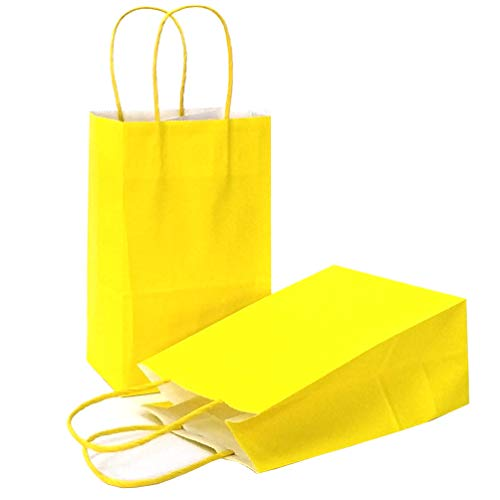 AZOWA Gift Bags Small Kraft Paper Bags with Handles (8 x 6 x 3 in, Yellow, 25 Pcs)