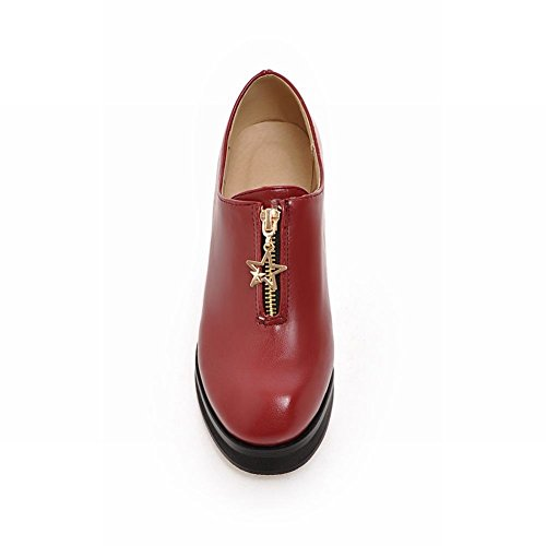 Vintage Carolbar Casual Heel Retro Chunky Shoes Zipper Fashion Womens Mid Wine Red HtrRH