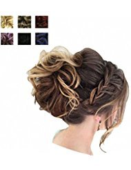 PrettyWit Hairpieces Short Curly Hair Extension Messy Hair Bun Updo Extensions Donut Hair Chignons Hair Piece Wig Scrunchy Bridal Drawstring Hair ChignonsStrawberry Blonde 27
