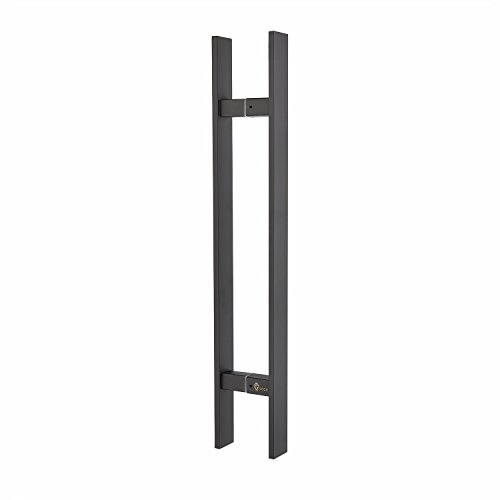 TOGU TG-6018 450mm/18 inches Square/Rectangle H-Shape/Ladder Style Back to Back Stainless Steel Push Pull Door Handle for Solid Wood, Timber, Glass and Steel Doors, Matt Black Finish
