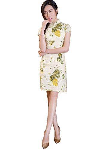 582f4f1055 ACVIP Damen Verbessern Kurze Arme Muster Stehtkragen Süß Art Kurze  Cheongsam Farbe3 LzRFXA