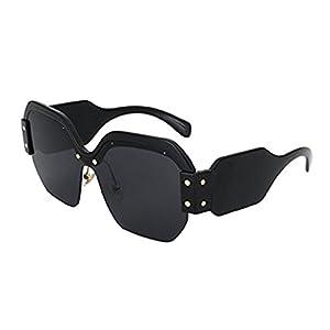 JollyFree Half Frame Semi-Rimless Sunglasses Womens Trendy Candy Color Designer Eyewear (A)