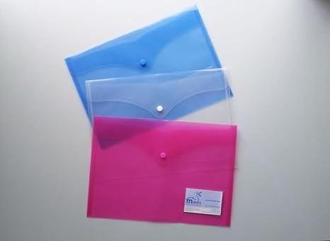 A4 documento de plástico carteras carpeta de archivos con tarjeta soporte con cierre a presión (Pack de 15), color azul: Amazon.es: Oficina y papelería