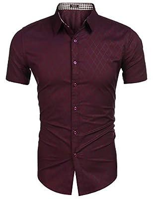 COOFANDY Men's Short Sleeve Dress Shirts Casual Slim Fit Button Down Shirt