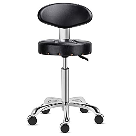 Kaleurrier Rolling Stool Salon Chair With Smooth Rolling Wheels 360 Degree Swivel Seat Heavy Duty Hydraulic Height Adjustable High Barber Cutting